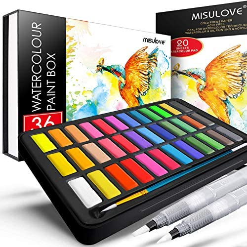 MISULOVE Watercolor Paint Set 36 Premium Colors in Gift Box with Bonus Watercolor Paper Pad product image