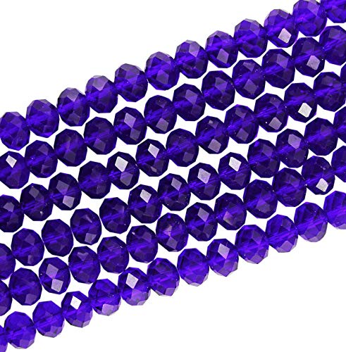 Crystal Glass 6X4MM Royal Blue Faceted RONDELLE APPR.90 Beads 1 Strand for Jewellery Making