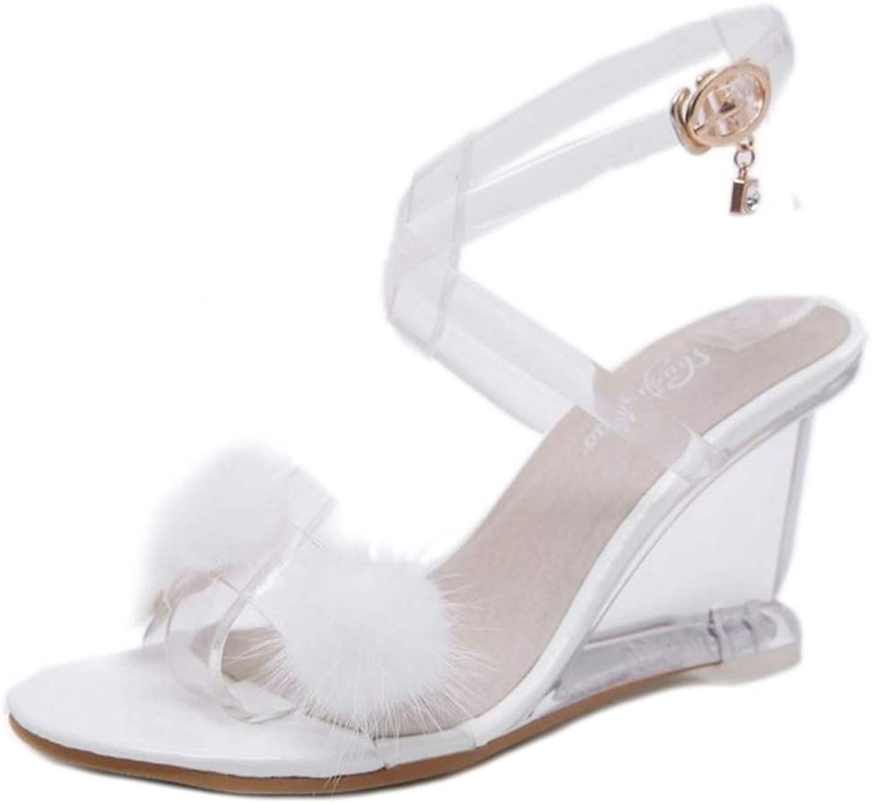 Melady Women Fashion Clear Weadge Heels Sandals Evening Party shoes