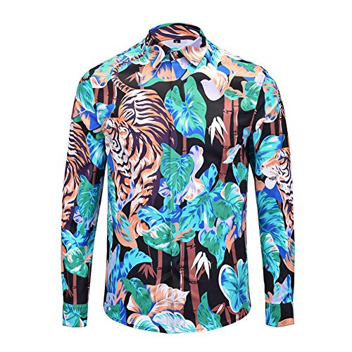 CHENS T overhemd/korte mouw/lange mouw Shirt mannelijke stijl landschap schilderij lange mouw overhemd herenkleding