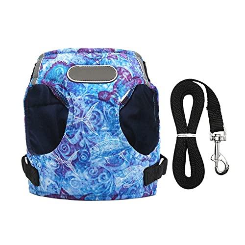Lwllbh Cinturón de cinturón de cinturón de cinturón de cinturón de arnés de Perro Correa para Mascotas Arnés de Caminata Ajustable Reflective Chaleco de Perro (Color : Blue, Size : M)
