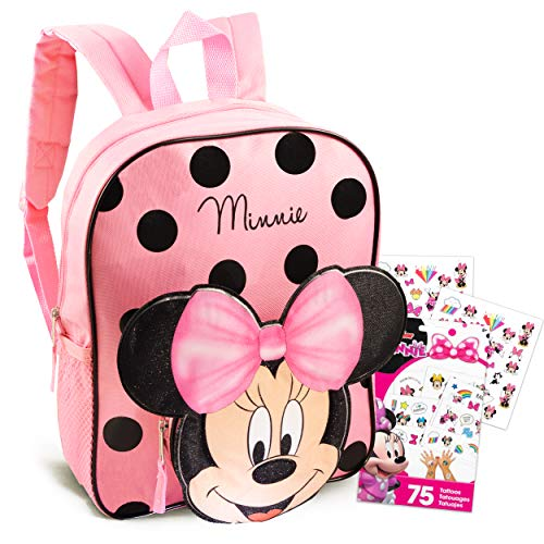 Disney Minnie Mouse Backpack for Toddlers Bundle ~ Premium 12' Minnie Mouse Mini School Bag with 3D Ears and Tattoos (Minnie Mouse School Supplies)