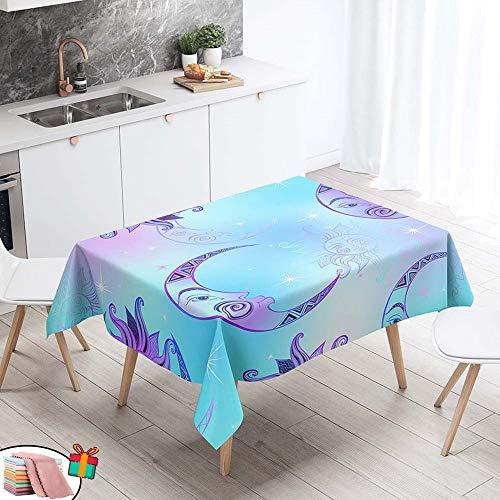 Morbuy Nappe Anti Tache Rectangulaire, Imperméable Étanche à l'huile 3D Imprimé Carrée Couverture de Table Lavable pour Ménage Cuisine Jardin Picnic Exterieur (Violet Lune,140x240cm)