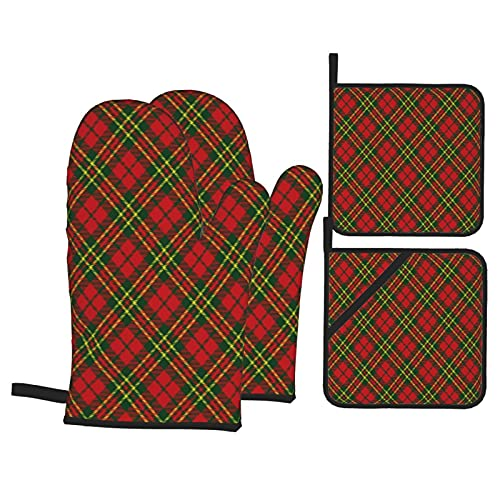 USOPHIA Oven Mitts and Pot Holders Sets of 4,Irish Tartan Plaid Motif Christmas Colored Ge,Polyester BBQ Gloves with Quilted Liner Resistant Hot Pads for Kitchen Cooking Baking Grilling