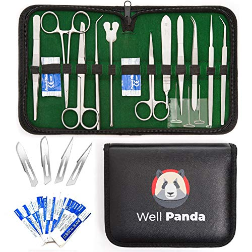 Well Panda Medics 20-Piece Set Advanced Dissection Kit for Frogs etc | Biology and Anatomy Lab Tools | Stainless Steel | Med and Vet Students | Surgical Kit | 3 Colors (Green)