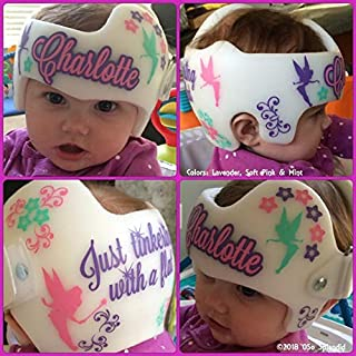 CECILIAPATER Personalized Cranial Band Fairy Decals - Just Tinkering with a Flat Pixies Design - Plagiocephaly Helmet Stickers
