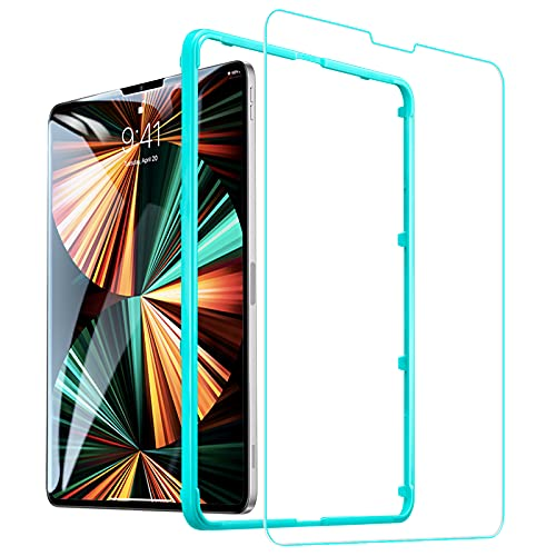 ESR ガラスフィルム iPad Pro 12.9 (2021/2020/2018)用 保護フィルム HDクリア強化ガラスフィルム 傷防止 簡単貼り付けガイド枠付属