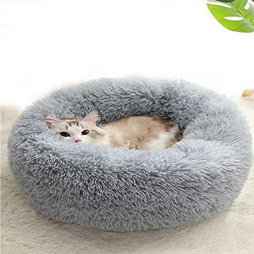 YX Best Friends Calming Dog Bed Cat Bed Plush Bed Donut Bed, Pet Bed Faux Fur Cuddler Round Comfortable Ultra Soft, Self Warming Indoor Sleeping Bed, All Pets Bed Solution - 15 inch, Light Grey