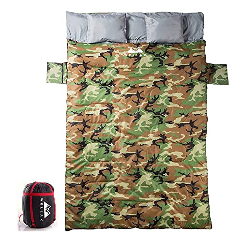 WELLAX Double Sleeping Bag for Camping, Backpacking or Hiking - Perfect Extra Large Sleeping Sack...