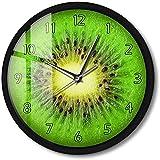 CXSMKP Orologio da Parete Rotondo attivato dal Suono Frutta Estiva Kiwi Illuminazione a LED Orologio Fresh Slice Actinidia Berry Kitchen Timepiece 12 in