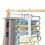 Furmenic Closet Space Saving Pants Hangers Non-Slip Clothes Organizer 5 Layered Pants Rack for Scarf Jeans Trousers (White, 2 Pcs)