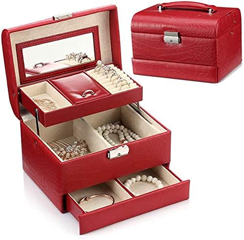 Joyería multifuncional Caja de almacenamiento de joyería de cuero Joyería Organizador, Joyería Joyería Joyería Armario Collar Anillo Pulsera Almacenamiento Joyas (Color: Rojo, Tamaño: Un tamaño)