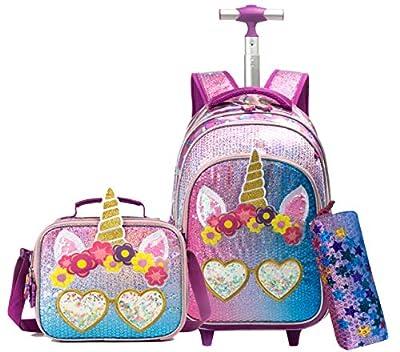 Smiley Unicorn Schoolbag Equipaje con ruedas Cabina Ocio Viajes Niño Niña Niño Juego de jardín de infantes Mochilas con ruedas para niñas, Kit de viaje con bolsa de almuerzo Unicornio 3 piezas