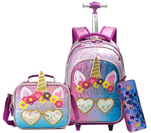 Faccina Unicorno Zainetto con ruote Cabina bagagli Viaggio per il tempo libero Bambino Ragazza Ragazzo Scuola materna primaria Set Zaini a rotelle per ragazze, Kit da viaggio con borsa pranzo Unicorno