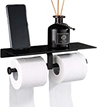 LOPIXUO Badkamer plank Mat Zwart Dubbele Toiletrol Papierhouder Badkamer Accessoires Wc Handdoek Houder Rek Plank Aluminiu...