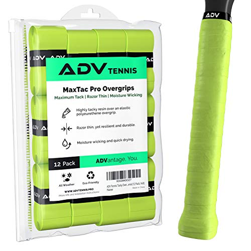 ADV Tennis Tacky Overgrip - 12 Pack - Extreme Tacky Grip Tape with Exclusive Razor Thin and Moisture Wicking MaxTac Material - Pro Tested & Designed (Volt)