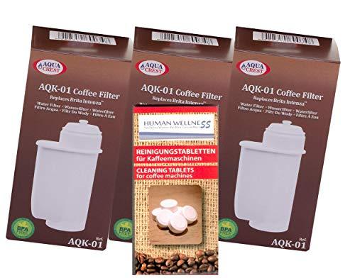 Human-Wellness 3 x AQK-01 cartuchos compatible con Siemens Brita Intenza Filtro TZ 70003 EQ.3 Eq.5 EQ.6 EQ.8 EQ.9 + 10 Lavado stabs