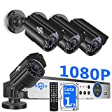 【H.265+】 Hiseeu Security Camera System Wired,4Pcs 1080P AHD Cameras+Expandable 8CH DVR,Phone&PC Remote Viewing,Motion Alert,Night Vision,IP66 Waterproof,24/7 Record,Easy Setup,1TB Hard Drive