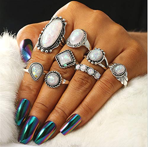 Cathercing 8 Pcs Opal Ring Sets for Women Knuckle Vintage Rings Pack for Women Girls Big Bohemian Rings Silver Joint Knot Rings Set for Teens Party Daily Fesvital Jewelry Gift(style6)