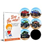 Potty Training Seat Magic Sticker |Monster Truck toddler Potty Training Toilet Color Changing Sticker | 5Pack Toilet targets with FREE potty ebook | Use with or Without Potty chart or potty watch
