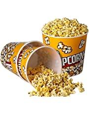 [Novelty Place] Retro Style Plastic Popcorn Containers for Movie Night - 7.25 Tall x 7.25 Top Diameter by Novelty Place