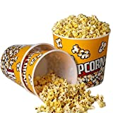 Novelty Place] Retro Style Plastic Popcorn Containers for Movie Night - 7.25' Tall x 7.25' Top Diameter (3 Pack)