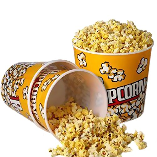 "Novelty Place] Retro Style Plastic Popcorn Containers for Movie Night - 7.25"" Tall x 7.25"" Top Diameter (3 Pack)"