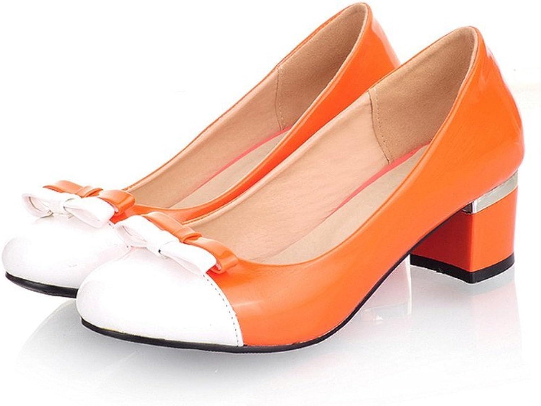 MINIVOG Women's Chunky Mid Heel Pump shoes