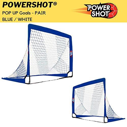 POWERSHOT Fußballtor Pop up - 2 Größen und 3 Farben zur Auswahl - 2er Set - faltbares Garten Fußballtor für Kinder (Blau/Weiss, 120 x 90cm)