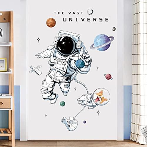 Adesivi murali astronauta per camerette per bambini Decorazione della parete della scuola materna Vinile Remvable Pvc Stickers murali Piastrelle d'arte Murales Decorazione della casa