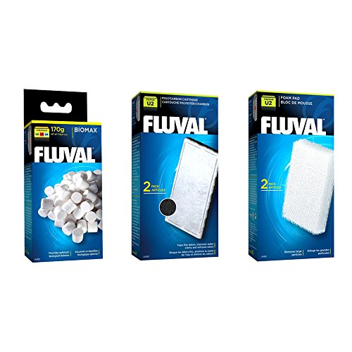Fluval U2 Filter Set - Foam pads, Poly Carbon cartridges, and Biomax !70g