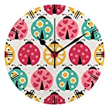 QAZPL Wall Clock Kitchen Large Clocks Cute Ladybug Colorful Silent Non Ticking Bedroom Living Room Art Decor Battery Operated Hanging Clocks Farmhouse Women Kids