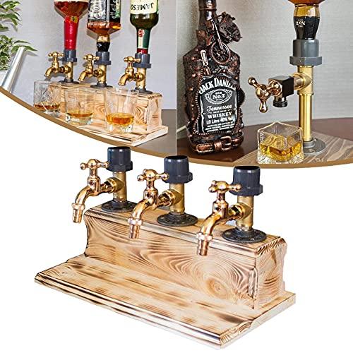 Dispensador de licor portabotellas, dispensador de bebidas con grifo, dispensador de cerveza para el hogar,dispensador de alcohol para el hogar,dispensador de whisky,regalo del día del padre (Triple)