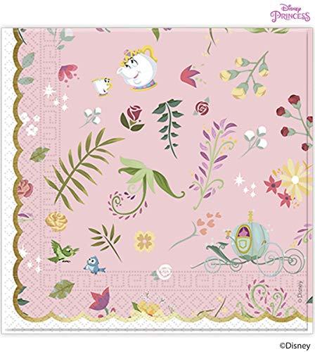 Procos 89901 Servietten Disney Prinzessinnen, 20 Stück, rosa, weiß