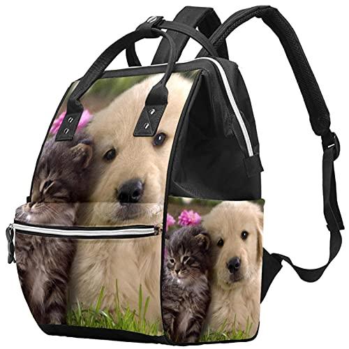 WJJSXKA Zaini Borsa per pannolini Laptop Notebook Zaino da viaggio Escursionismo Daypack per donna Uomo - Cucciolo di cane con gatto