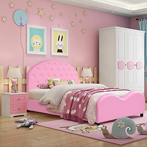 Why Should You Buy Daughter Head Foot Board Pallet 80x41.5x32 Pink PVC Upholstered Stable Sturdy ...