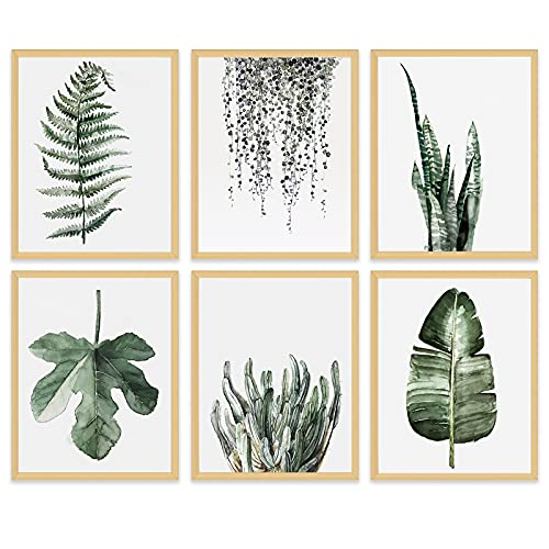 """Leaf Canvas Plant Wall Decor - Minimalist Botanical Wall Art Prints Tropical Pictures Green Decoration for Bathroom Kitchen Bedroom Nursery Modern Watercolor Painting Rustic Boho Poster 8x10""""Unframed"""