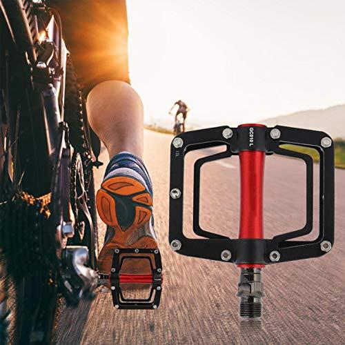 FECAMOS con 18 Clavos Antideslizantes 1 par de Pedales de Bicicleta de montaña Antideslizantes y antideformación Resistencia a la corrosión, para Bicicletas Ciclismo(Black Red)