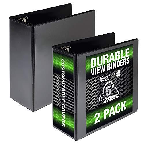 Samsill Durable 5 Inch Binder Black D-Ring Binder/Customizable Clear View Binder/Bulk Binder 2 Pack/Black 3 Ring Binder 5 inch (MP26400)