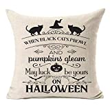 MFGNEH Hallowween Decorations Pumpkins Pillow Covers Black Cat Throw Pillow Cases Cushion Cover for Sofa Couch Bed Chair 18 x 18 Inches,Halloween Decor