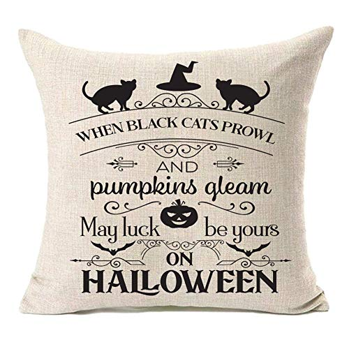 MFGNEH Halloween Decorations Pumpkins Pillow Covers Black Cat Throw Pillow Cases Cushion Cover for Sofa Couch Bed Chair 18 x 18 Inches,Halloween Decor