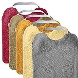 MIMUSELINA Pack 5 BABEROS RIZO GUARDERÍA con goma para fomentar AUTONOMÍA. Lavables, interior IMPERMEABLE y exterior RIZO ABSORBENTE máxima calidad. Babero goma cuello (SUNSET)