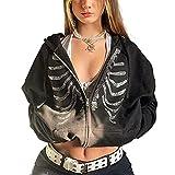 Mujeres Y2k Esqueleto Zip Up Sudadera con Capucha Rhinestone Gráfico Harajuku Gótico Sudaderas Sudaderas Sudaderas Estética Pullover Sudaderas, Negro a, S