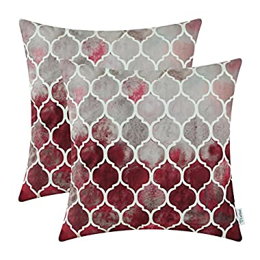 CaliTime Pack of 2 Cozy Throw Pillow Cases Covers Couch Bed Sofa Manual Hand Painted Colorful Geometric Trellis Chain Print 18 X 18 Inches Main Grey Red Burgundy