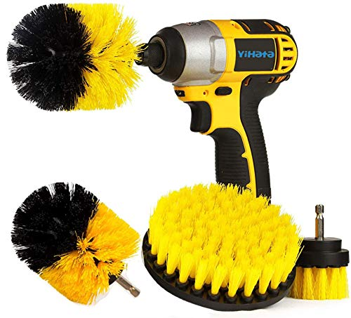 YIHATA Drill Brush Attachments Set,Kitchen Cleaning Drill Brushes,Drill Head Scrub Brush,Stainless Steel Sink Cleaner Multi-Purpose, Shower Brushes Sets, Power Scrubbers Great for Grout, Floor, Tub