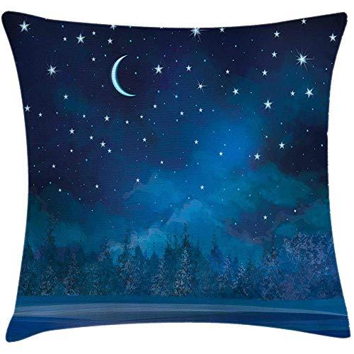 SSHELEY Funda de cojín de Almohada de Invierno, Ilustración de Pintura Nocturna con Luna, Funda de Almohada Cuadrada, Mar Violeta Oscuro Baby Grey