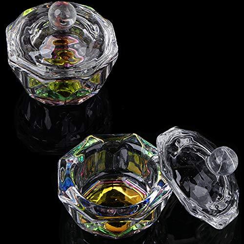 Kalolary Dappenschalen mit Lippe für flüssiges Puder, Glas, Kristallbecher, Nagel-Kristallschale, Glaswaren-Werkzeug mit Deckel (achteckige Form) 2 Stück