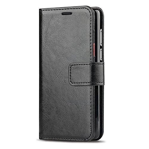 J&D Kompatibel für Huawei Honor 7C Leder Hülle, [RFID Blocking Standfuß] [Slim Fit] Robust Stoßfest PU Leder Flip Handyhülle Tasche Hülle für Huawei Honor 7C Hülle - Schwarz - 4
