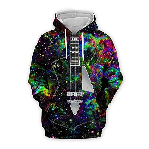 YJXDBABY-Creative 3D Guitar-Suéteres Unisex 3D, Sudaderas Casuales para Parejas, Sudaderas con Capucha para Hombres, Chaquetas para Niños, Jerseys Transpirables-XS