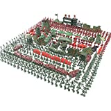 LGRQWER 500 Stück 4Cm Kleiner Soldat Modell Gesetzt Militärbasis Sand Tischszene Kinder Spielzeug, Spielzeug Panzer, Flugzeuge, Fahnen, Soldaten Figuren, Zäune Und Zubehör,A